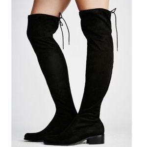 Free People Over-the-Knee Boots - Black Suede